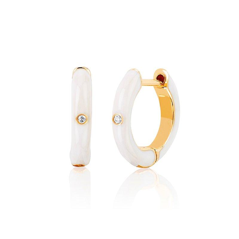 EF Collection Diamond White Enamel Huggie Earrings