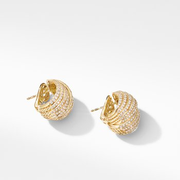 DY Origami Shrimp Earrings in 18K Yellow Gold with Diamonds