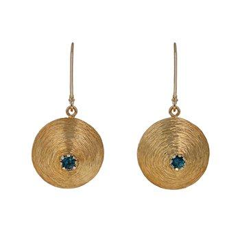 Domed Sapphire Drop Earrings