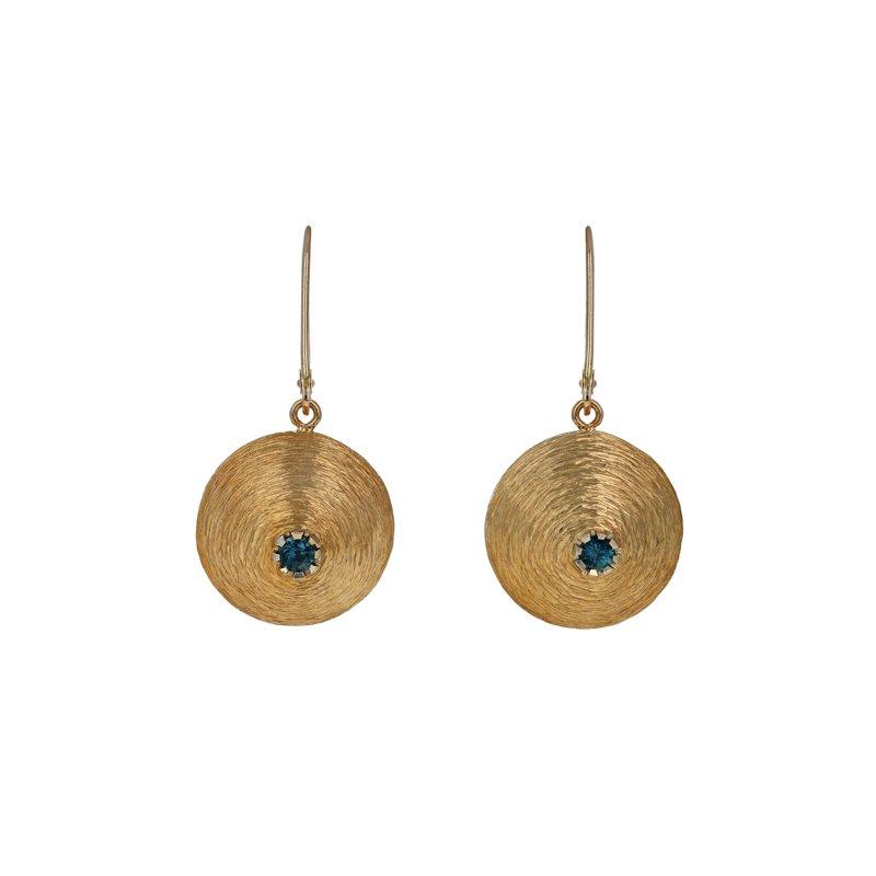 Estate Radcliffe Domed Sapphire Drop Earrings