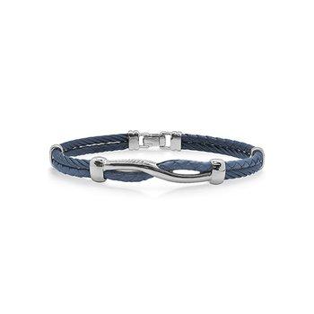 Blueberry Cable & Blue Leather Twist Bracelet