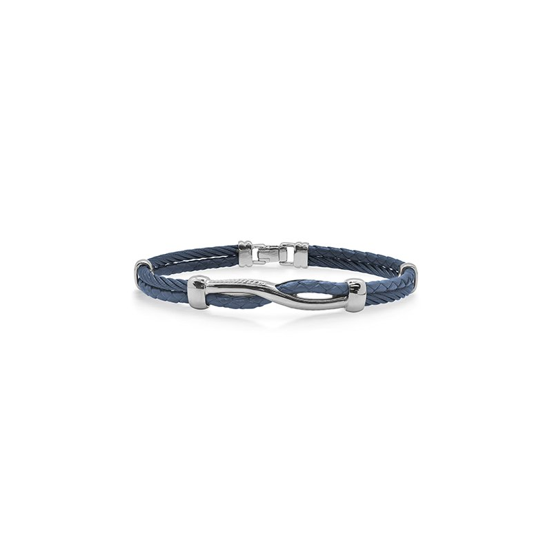 ALOR Blueberry Cable & Blue Leather Twist Bracelet