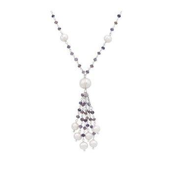 White Pearl & Iolite Tassel Necklace