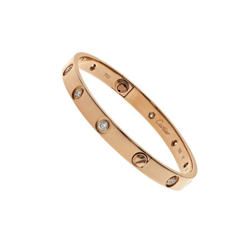 Estate Cartier 10 Diamond Love Bracelet