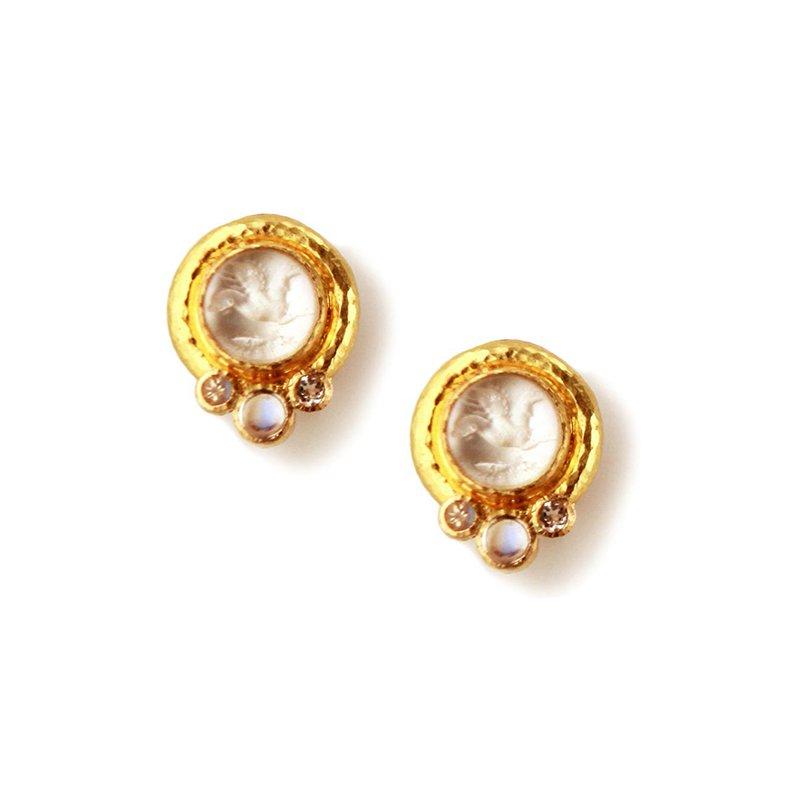 """Elizabeth Locke Crystal """"Cabochon Tiny Griffin"""" Earrings"""