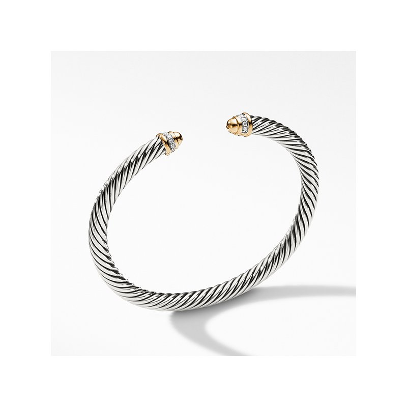 David Yurman Cable Classics Collection Bracelet with Diamonds and 18K Gold