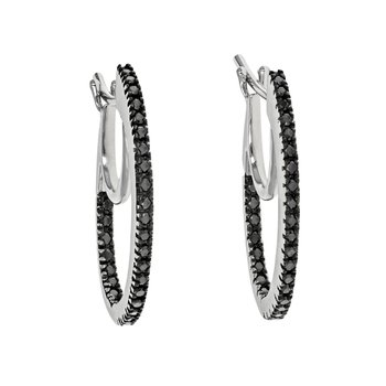 Black Diamond Inside-Out Hoop Earrings