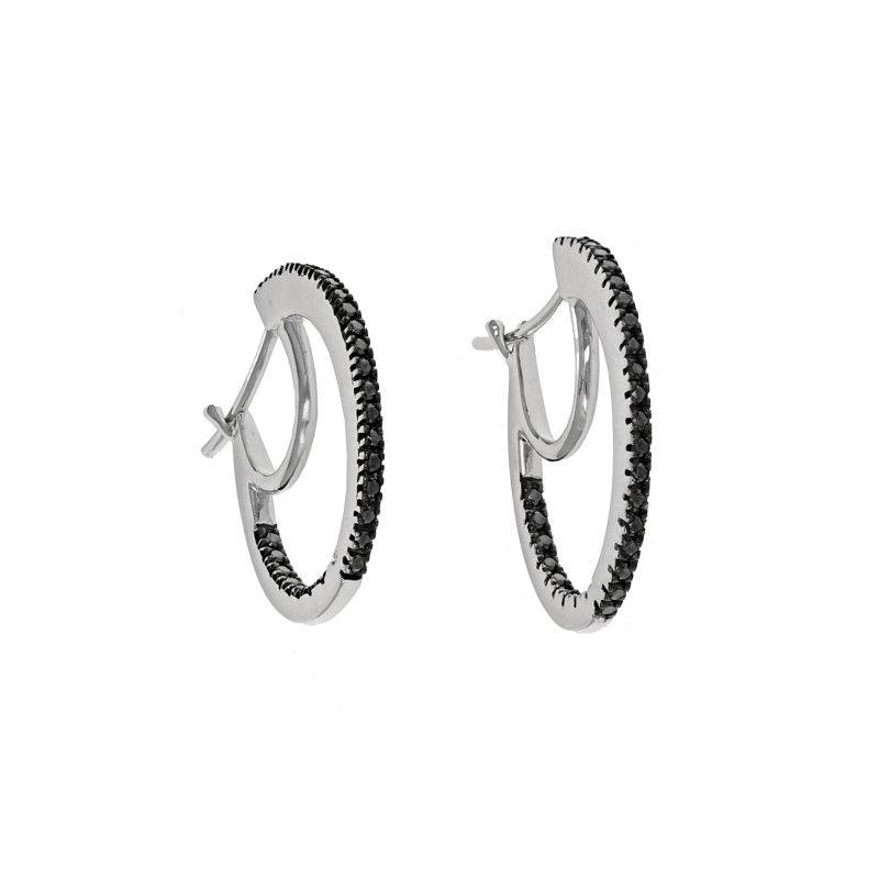Estate Radcliffe Black Diamond Inside-Out Hoop Earrings