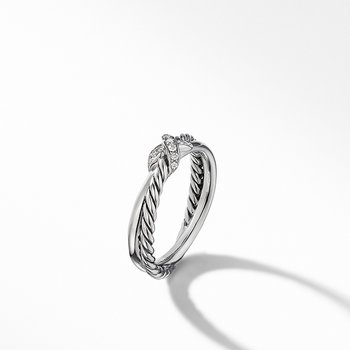 Petite X Ring with Pave Diamonds