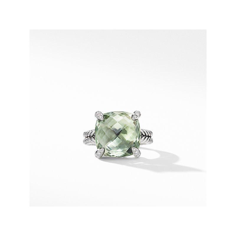 David Yurman Chatelaine Ring with Prasiolite and Diamonds