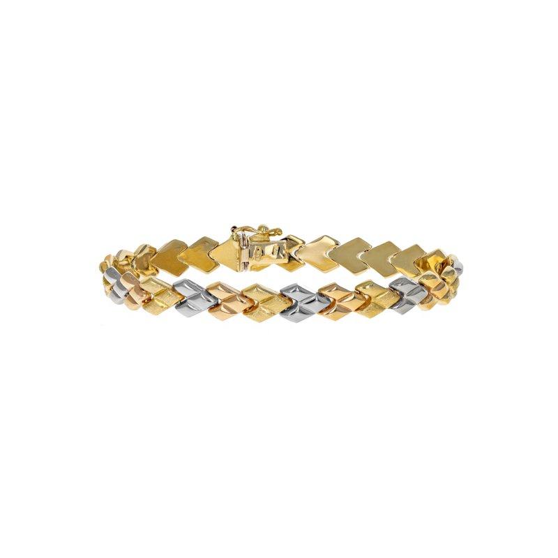 Estate Radcliffe Tri-Color Link Bracelet