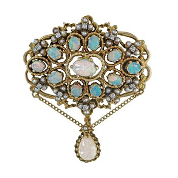 Opal, Pearl & Diamond Pin / Pendant