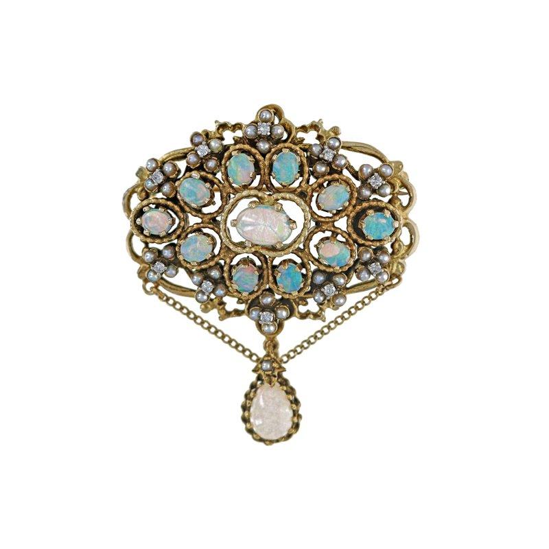 Estate Radcliffe Opal, Pearl & Diamond Pin / Pendant