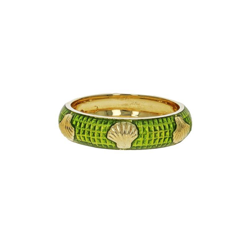 Estate Hidalgo Green Enamel Seashell Ring