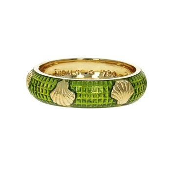 Green Enamel Seashell Ring