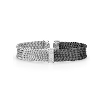 Black & Grey Cable Colorblock Cuff