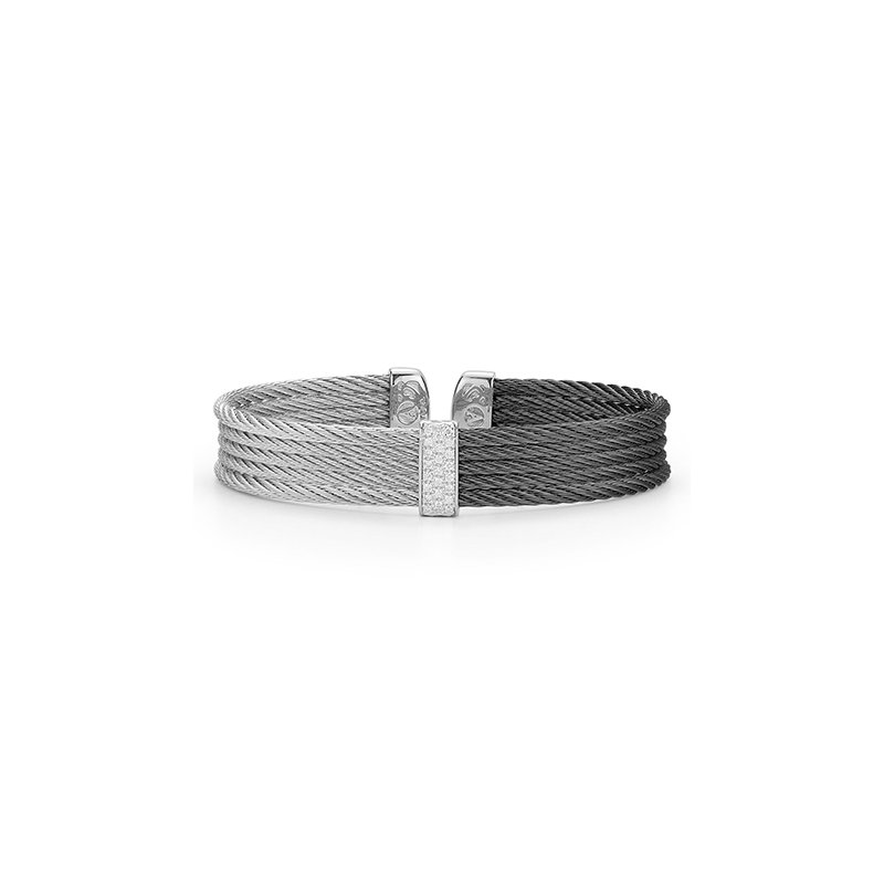 ALOR Black & Grey Cable Colorblock Cuff