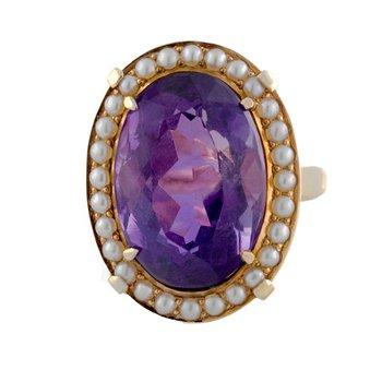 Amethyst & Seed Pearl Ring