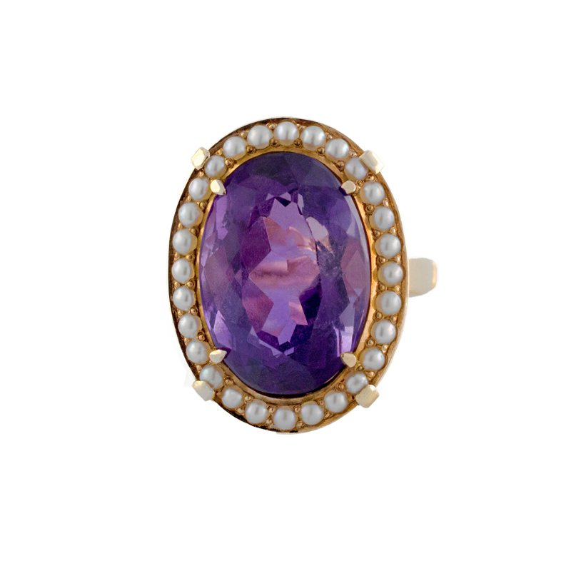 Estate Radcliffe Amethyst & Seed Pearl Ring