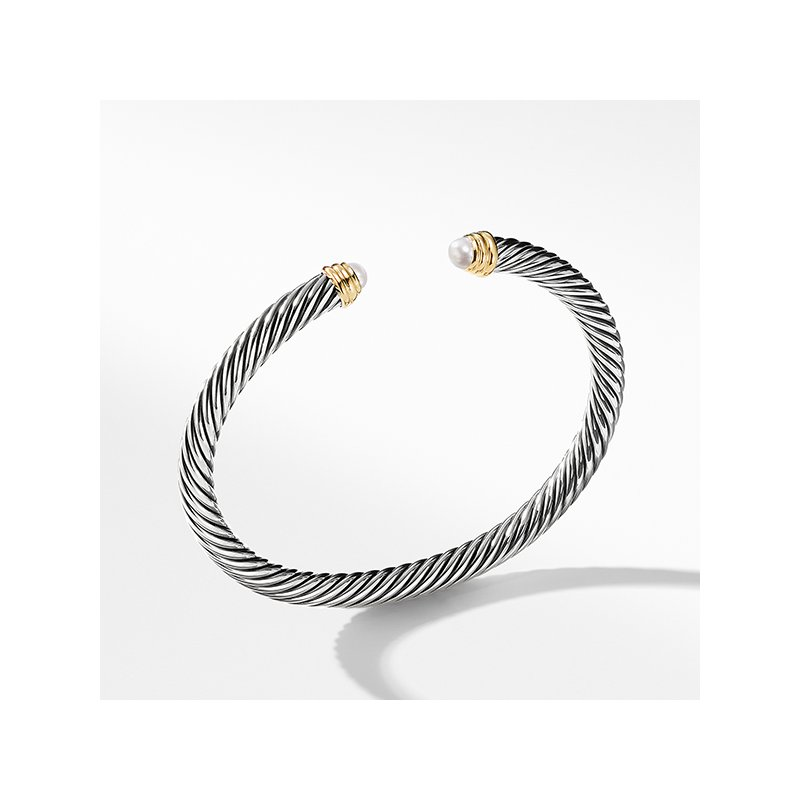 David Yurman Cable Classics Collection Bracelet with Pearls and 14K Gold