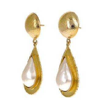 Mabe Pearl Teardrop Drop Earrings