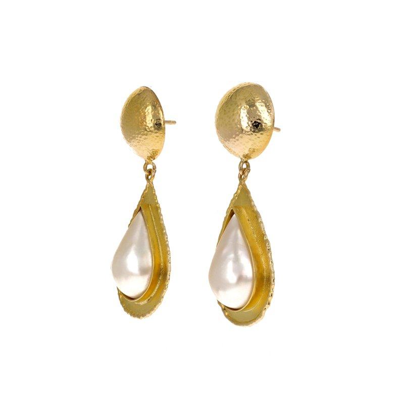 Estate Radcliffe Mabe Pearl Teardrop Drop Earrings