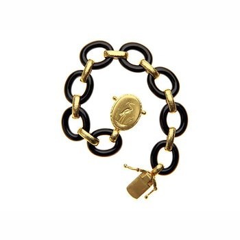 "Black Jade Link Bracelet with ""Crane"" Clasp"