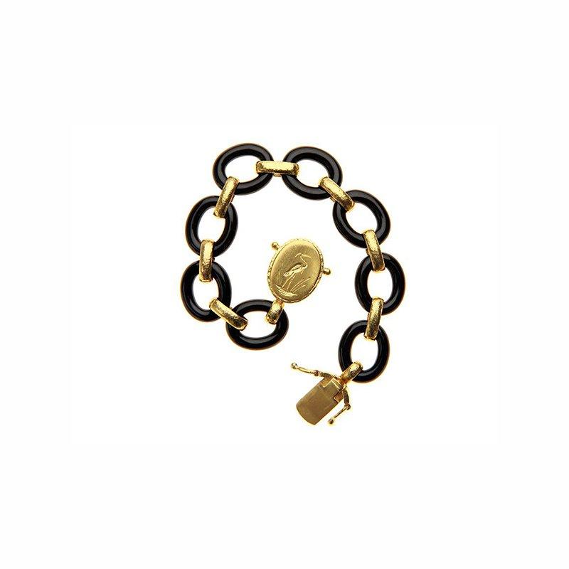 "Elizabeth Locke Black Jade Link Bracelet with ""Crane"" Clasp"