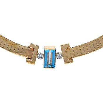 Aquamarine & Diamond Collar Necklace