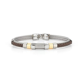 Men's Grey Cable & Brown Braided Leather Bracelet