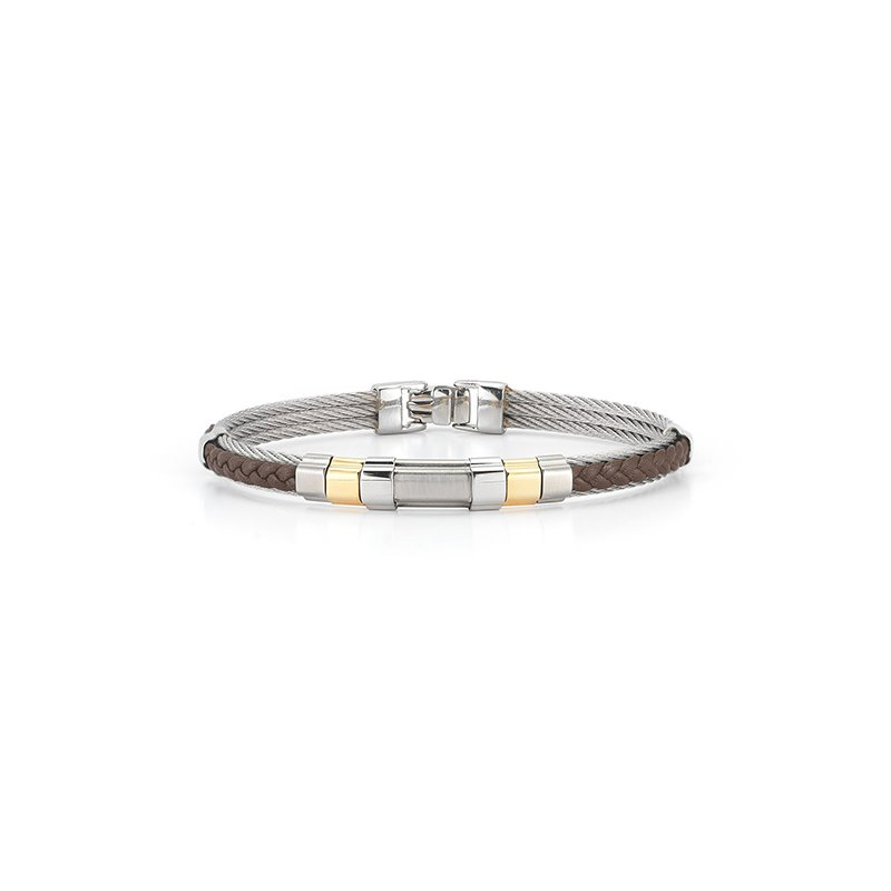 ALOR Men's Grey Cable & Brown Braided Leather Bracelet