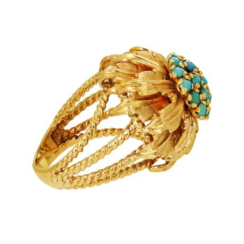 Turquoise Cluster Dome Leaf Ring