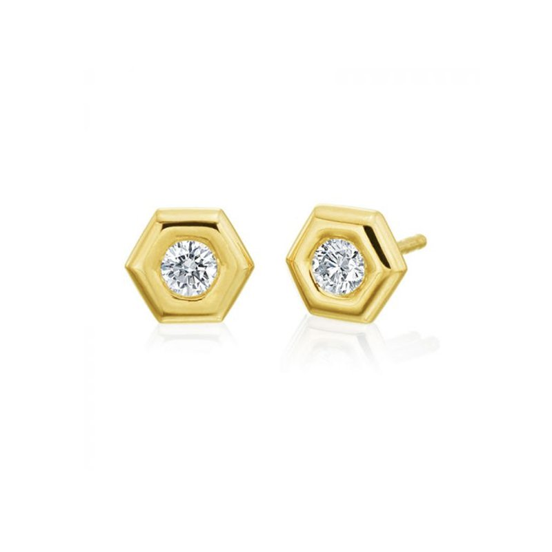 "Gumuchian Honeybee ""B"" Honeycomb Earrings"