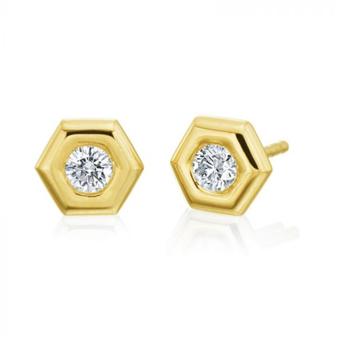 """Honeybee """"B"""" Honeycomb Earrings"""