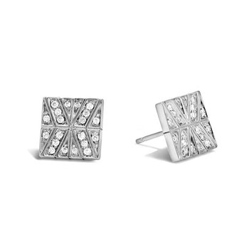 Modern Chain Stud Earrings with Diamonds