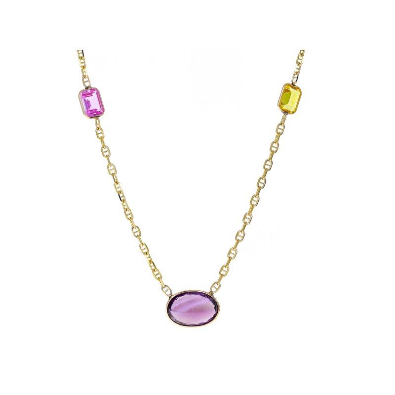 Estate Radcliffe Gemstone Anchor Link Chain Necklace