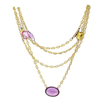 Gemstone Anchor Link Chain Necklace