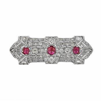 Antique Diamond & Ruby Bar Pin