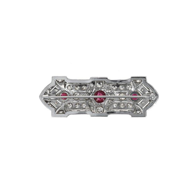 Estate Radcliffe Antique Diamond & Ruby Bar Pin