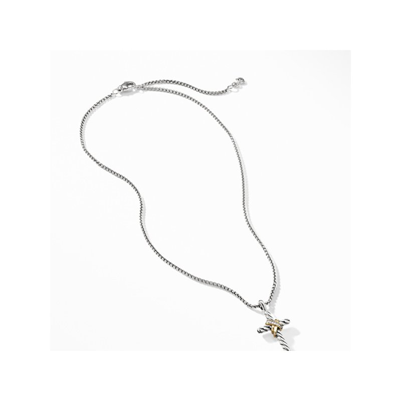 David Yurman Cable Collectibles X Cross Necklace with Diamonds and 14K Gold