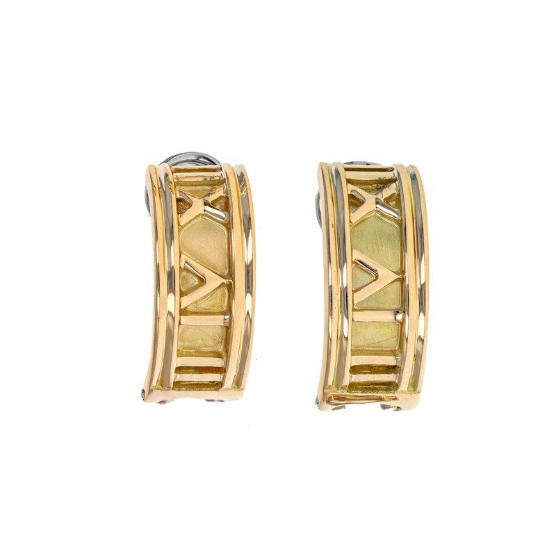 Estate Radcliffe Roman Numeral Half Hoop Earrings