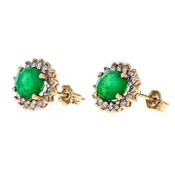 Emerald & Diamond Halo Stud Earrings