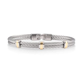 Men's Grey Cable with Three Yellow Gold Stations