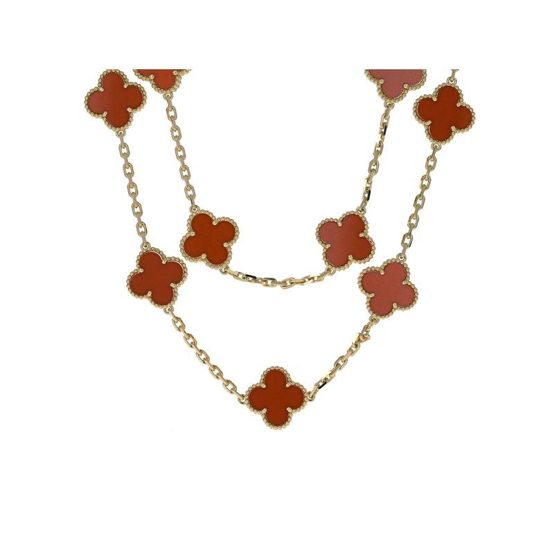 Estate Van Cleef & Arpels Vintage Alhambra Carnelian Necklace