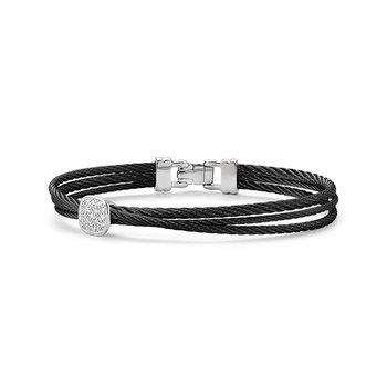 Noir Multi-Strand Black Cable Bangle Bracelet
