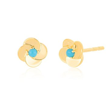 Gold and Turquoise Petal Stud Earrings