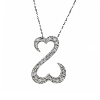 Double Open Heart Diamond Pendant Necklace