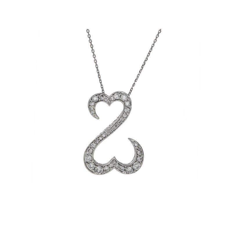 Estate Radcliffe Double Open Heart Diamond Pendant Necklace