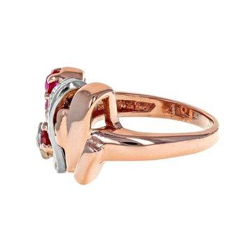 Diamond & Ruby Retro Style Ring
