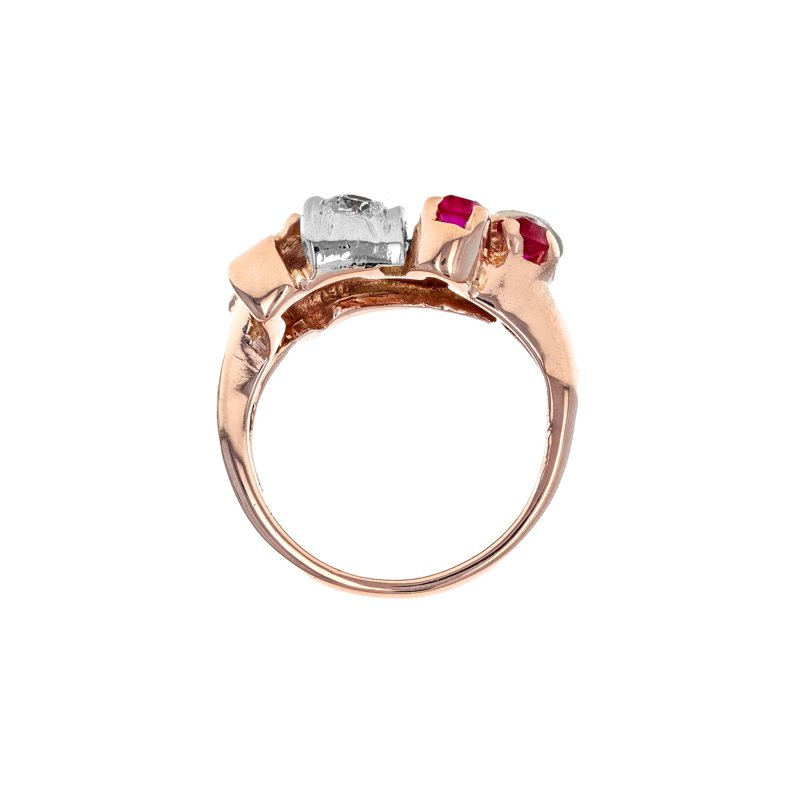 Estate Radcliffe Diamond & Ruby Retro Style Ring